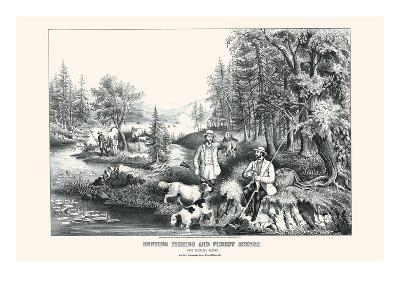 Hunting Fishing and Forest Scenes: Good Luck All Around-Currier & Ives-Art Print