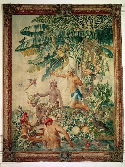 "Hunting, from the ""Tenture des Nouvelles Indes"", Gobelin Workshop--Giclee Print"