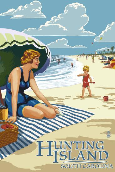 Hunting Island, South Carolina - Woman on Beach-Lantern Press-Art Print