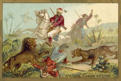Hunting Lion in Africa--Giclee Print