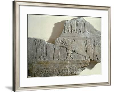 Hunting Lion, Relief from Ashurbanipal's Palace in Nineveh, Iraq--Framed Giclee Print