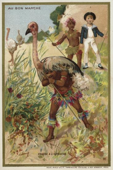Hunting Ostrich--Giclee Print