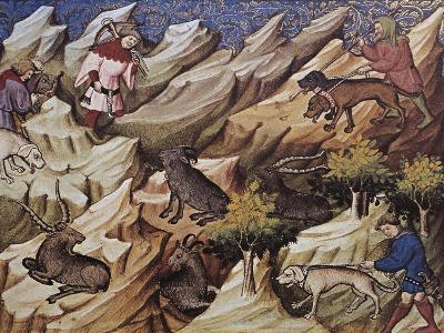 Hunting Scene, Illustration from Livre De Chasse, Medieval Treatise on Hunting--Giclee Print