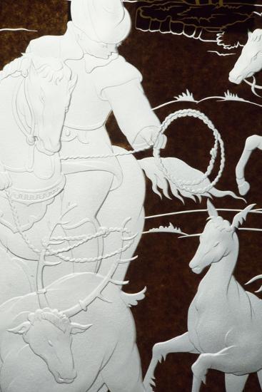 Hunting Scene, Sandblasted Engraving-Hollow on Sheet of Glass--Giclee Print