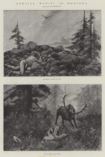 Hunting Wapiti in Montana-Richard Caton Woodville II-Giclee Print