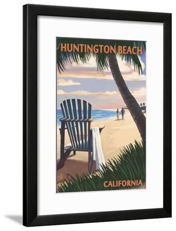 Huntington Beach, California - Adirondack Chairs and Sunset-Lantern Press-Framed Art Print