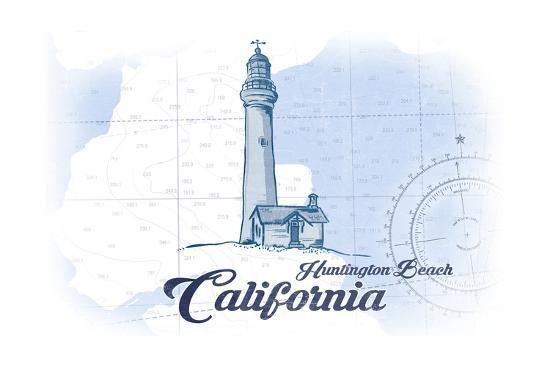 Huntington Beach, California - Lighthouse - Blue - Coastal Icon-Lantern Press-Art Print