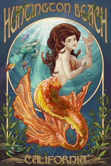 Huntington Beach, California - Mermaid-Lantern Press-Wall Mural