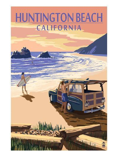 Huntington Beach, California - Woody on Beach-Lantern Press-Art Print
