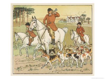 Huntsman Blows His Horn to Start the Hunt-Randolph Caldecott-Giclee Print