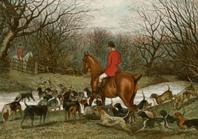 Huntsman with Foxhounds Tracking a Scent Across a Brook, England, 1800s