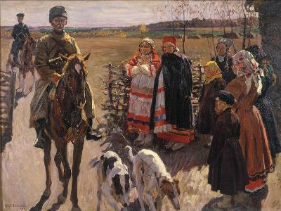 Huntsmen with Borzois, 1913-Sergei Arsenyevich Vinogradov-Giclee Print
