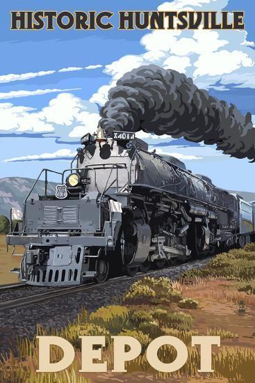Huntsville, Alabama - Huntsville Depot - Steam Locomotive-Lantern Press-Art Print