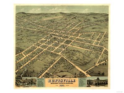 Huntsville, Alabama - Panoramic Map-Lantern Press-Art Print