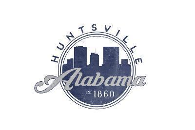 Huntsville, Alabama - Skyline Seal (Blue)-Lantern Press-Art Print