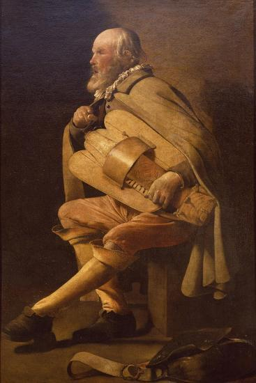 Hurdy-Gurdy Player with Bag-Georges de La Tour-Giclee Print