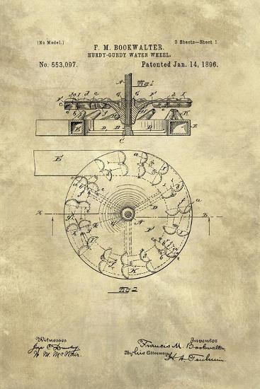 Hurdy-Gurdy Water Wheel blueprint - Industrial Farmhouse-Tina Lavoie-Giclee Print