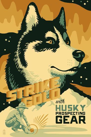 Husky - Retro Gold Mining Ad-Lantern Press-Art Print
