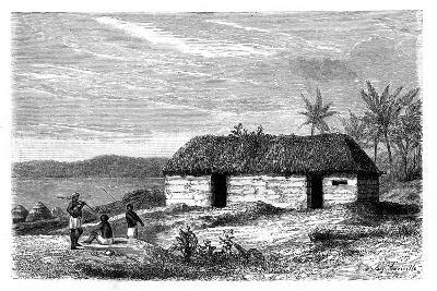 Hut at the Edge of Lake Tanganyika, Congo, 19th Century- Lavielle-Giclee Print