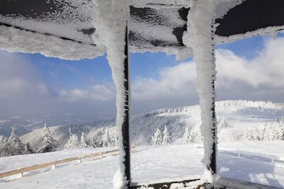 Hut at the Peak of Kandel Mountain in Winter, Black Forest, Baden-Wurttemberg, Germany, Europe-Markus Lange-Photographic Print