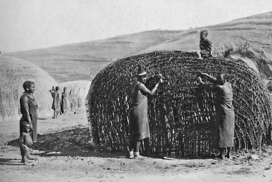 Hut building in Zululand, 1912-Unknown-Photographic Print