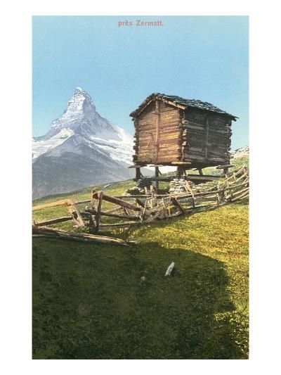 Hut Near the Matterhorn, Swiss Alps--Art Print