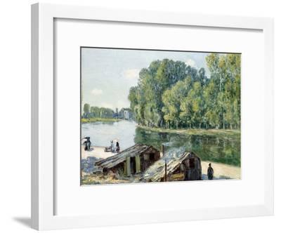 Huts Along the Canal Du Loing, Effect of Sunlight, 1896-Alfred Sisley-Framed Giclee Print