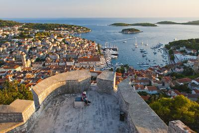 Hvar Town and Tourists at Hvar Spanish Fort (Fortica) at Sunset-Matthew Williams-Ellis-Photographic Print