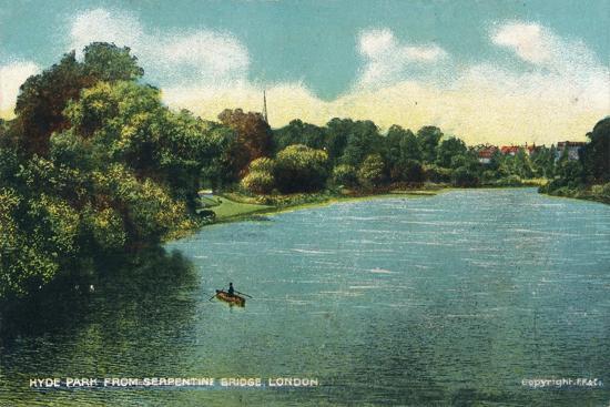 'Hyde Park from Serpentine Bridge, London', c1910-Unknown-Giclee Print