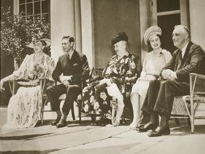 Hyde Park, New York. from Left: Mrs Roosevelt, King George Vi, Mrs James Roosevelt