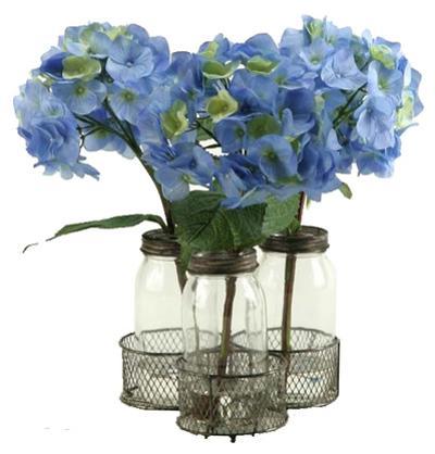 Hydrangea Rustic Jar & Tray Set