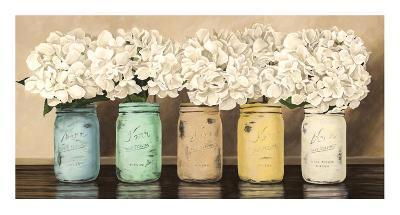Hydrangeas in Mason Jars-Jenny Thomlinson-Giclee Print