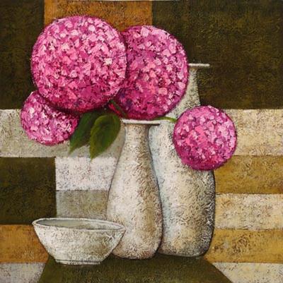 Hydrangeas with Vase I-Robert Downs-Art Print