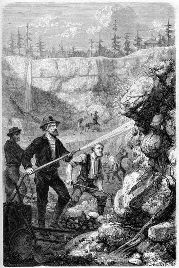 Hydraulic Mining, California, 1859-Gustave Adolphe Chassevent-Bacques-Giclee Print