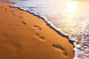 Beach, Wave And Footsteps At Sunset Time by Hydromet