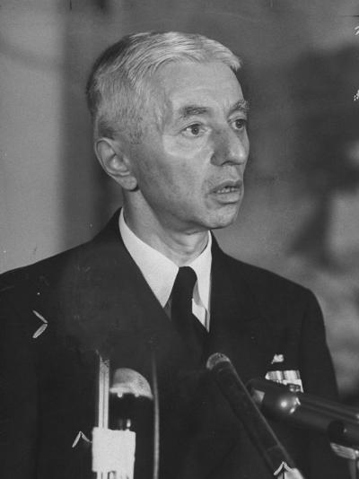 Hyman Rickover Speaking at a Press Conference-Peter Stackpole-Photographic Print