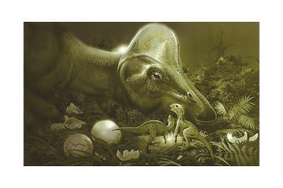 Hypacrosaurus Protecting its Nest and Newborn Hatchlings-Stocktrek Images-Art Print