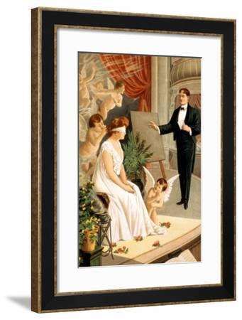 Hypnotist and Blindfolded Woman with Angels on Stage--Framed Art Print