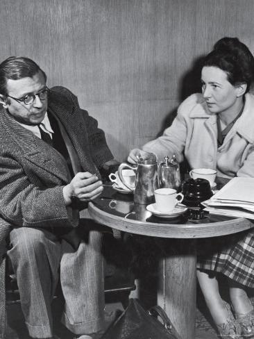 Premium Photographic Print: Philosopher Writer Jean Paul Sartre and Simone de Beauvoir Taking Tea Together by David Scherman : 24x18in