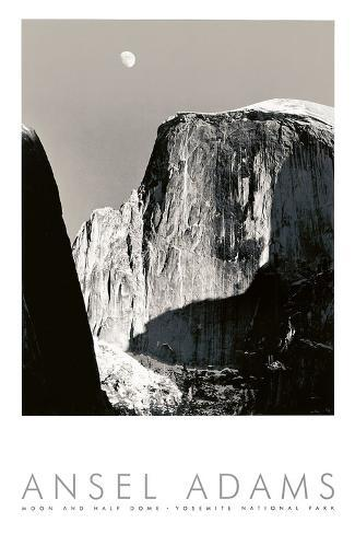 Art Print: Moon and Half Dome by Ansel Adams : 36x24in