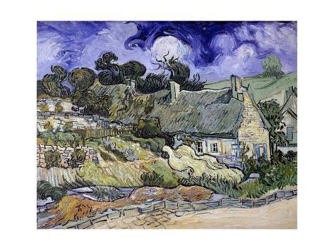 Giclee Print: Thatched Cottages at Cordeville, Auvers-Sur-Oise by Vincent Van Gogh : 16x12in