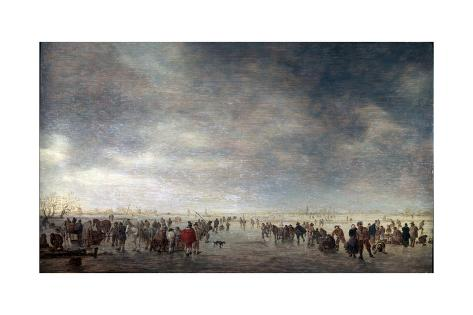 Giclee Print: Ice Skaters, 1641 by Jan Van Goyen : 24x16in