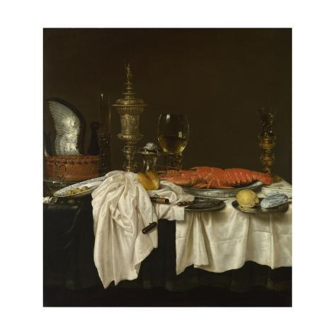 Giclee Print: Still Life with a Lobster, C. 1650-1660 by Willem Claesz Heda : 16x16in