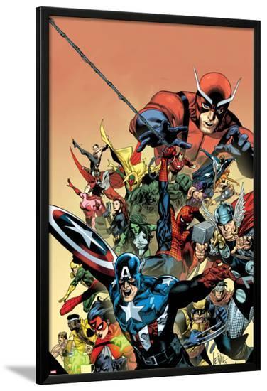I am an Avenger No.1 Cover: Captain America, Thor, Wolverine, Hulk, Ant-Man, Vision, and Iron Man-Leinil Francis Yu-Lamina Framed Poster