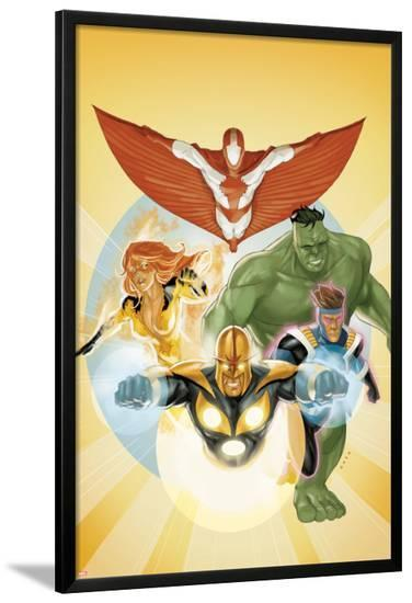 I Am an Avenger No.3 Cover: Stingray, Firestar, Hulk, Nova, and Justice-Phil Noto-Lamina Framed Poster