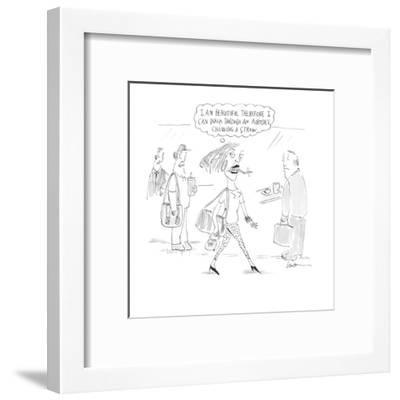 I am beautiful therefore I can walk through an airport chewing a straw.' - Cartoon-Mary Lawton-Framed Premium Giclee Print