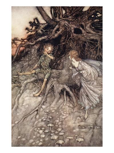 I Am That Merry Wanderer of the Night, Illustration from 'Midsummer Nights Dream'-Arthur Rackham-Giclee Print