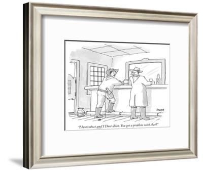 """""""I broncobust and I Dust-Bust. You got a problem with that?"""" - New Yorker Cartoon-Jack Ziegler-Framed Premium Giclee Print"""