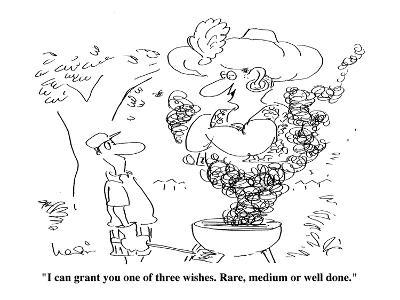 """""""I can grant you one of three wishes. Rare medium or well done."""" - Cartoon-Arnie Levin-Premium Giclee Print"""