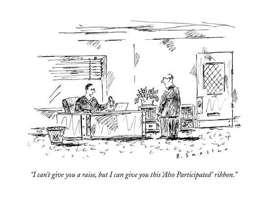 """I can't give you a raise, but I can give you this 'Also Participated' rib?"" - New Yorker Cartoon--Premium Giclee Print"